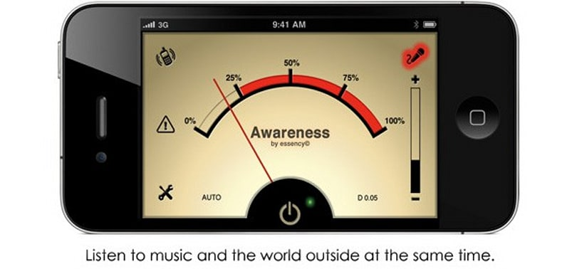 iPhone Awareness! app selectively filters outside noises into your headphones, saves hipster lives