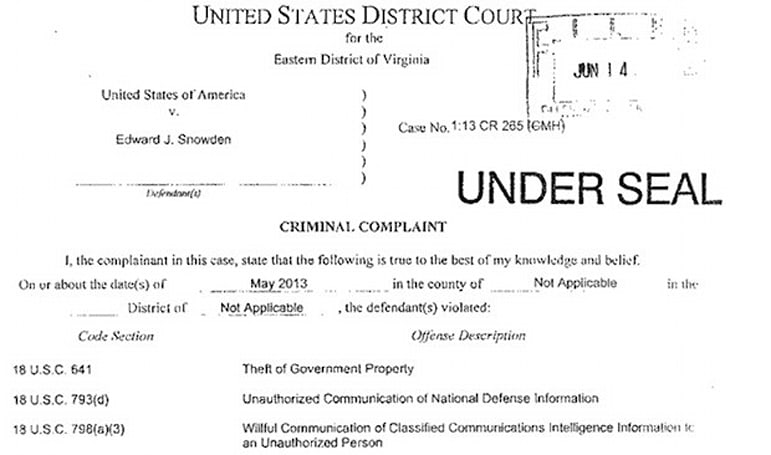 US government files criminal charges against Edward Snowden over PRISM leaks