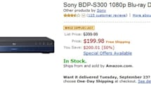 Sony's BDP-S300 1080p Blu-ray player sinks below $200