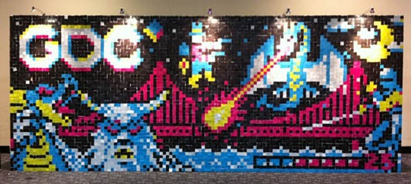 Painting with Pixels wall now complete, looking 8-bit and swanky