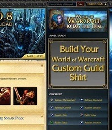 Blizzard puts advertising on the WoW front page