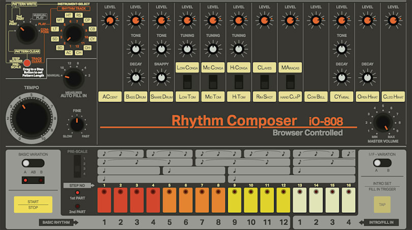 This drum machine recreates the 808's features in your browser