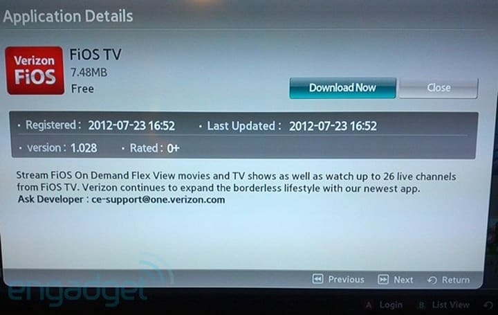 FiOS TV app for Samsung HDTVs and Blu-ray players available with 26 live channels (video)