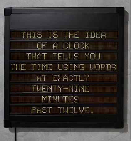 Hans Tan's LED clock spells out time in text