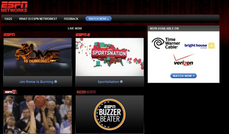 Verizon FiOS TV service now offers ESPN channels over the internet