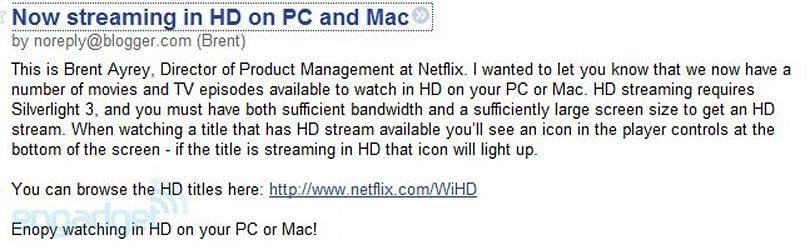 Leaked Netflix blog post indicates official HD streaming to PC launch soon