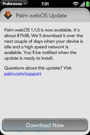 Palm webOS 1.1 now available, fixes iTunes 8.2.1 syncing