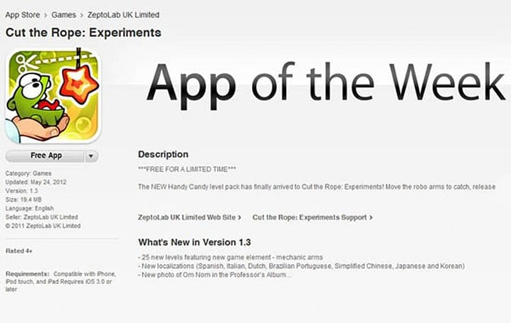Apple introduces 'free app of the week,' kicks things off with Cut the Rope: Experiments