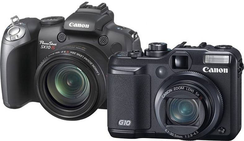 Canon's SX10 IS 20x wide-angle zoom and 14.7 megapixel G10