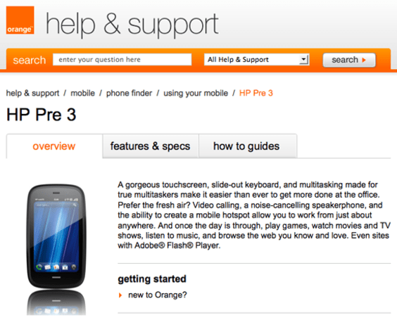 Orange UK's official HP Pre 3 support page goes live, still not available to purchase