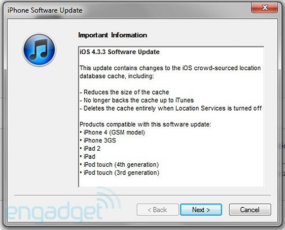 iOS 4.3.3 is out, location tracking 'fix' in tow