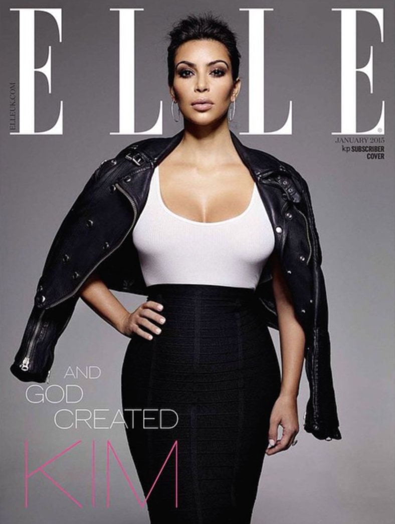 Kim Kardashian gets dressed for Elle UK