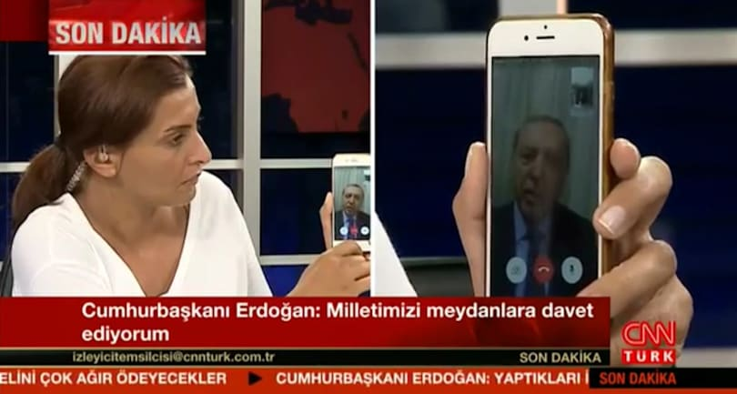 Turkish president interviewed via FaceTime during military coup
