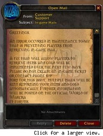 Blizzard sends in-game mail explaining today's problems