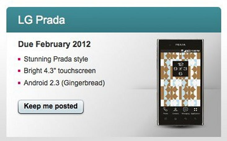 Prada Phone by LG 3.0 arriving on T-Mobile UK next month