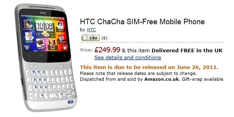 HTC's Facebook phones, ChaCha and Salsa, get Amazon pre-order with June 26th delivery