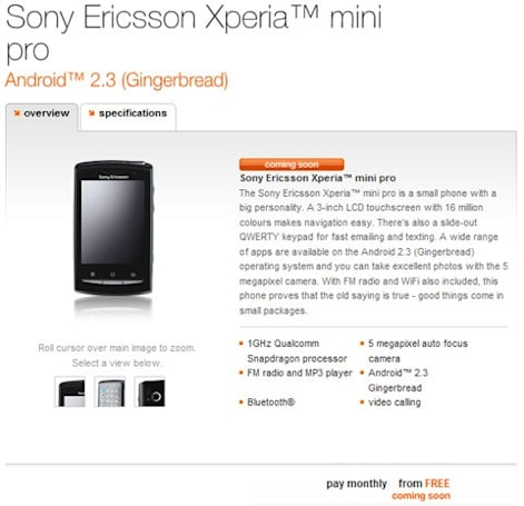 Xperia Mini Pro taunts Orange UK customers with free pricing, 'coming soon' status