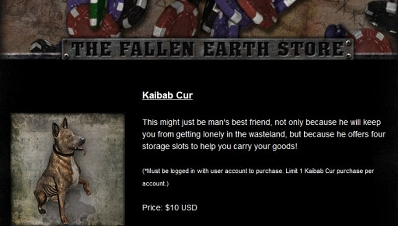 [Updated] Wasteland for sale: Fallen Earth opens its item store