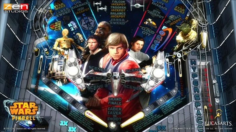 Star Wars Pinball being loaded into the 3DS chute
