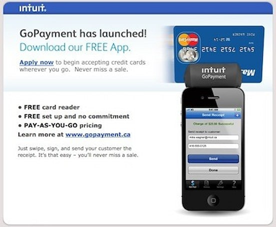 Intuit GoPayment goes live in Canada, more rectangular than Square