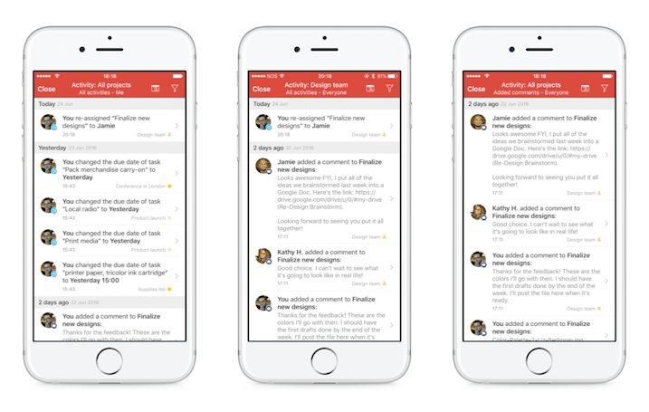Todoist's business platform has a new activity log and notifications