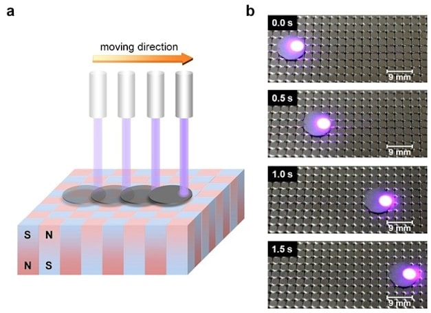 Magnetically lifted graphite moves by laser, may lead to light-based maglev vehicles (video)