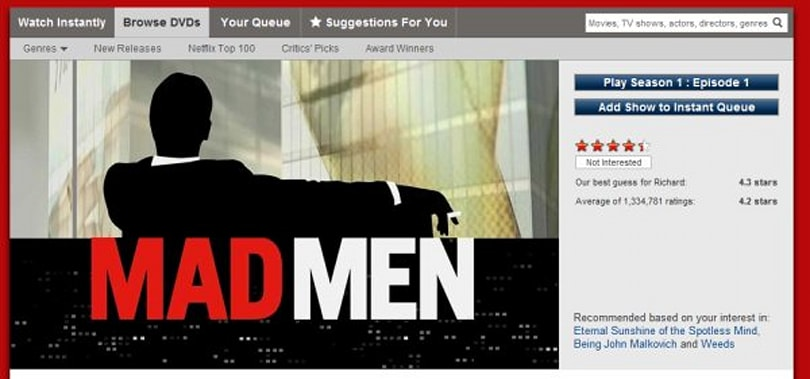Netflix adds Mad Men in the US today, CBS content in Canada and Latin America later