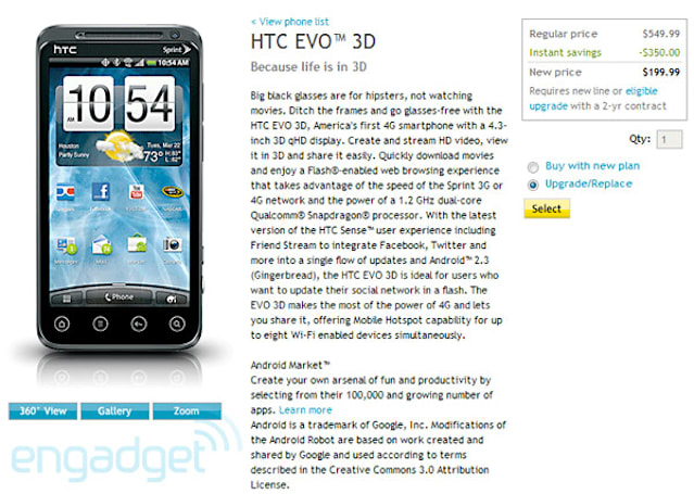 HTC EVO 3D on sale now to Sprint Premier customers: $200 on a two-year contract