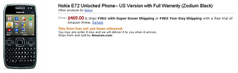 Nokia E72 NAM up for $469 preorder on Amazon
