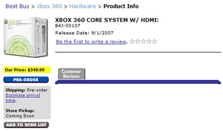 "HDMI-equipped Xbox 360 ""Core system"" shows up for pre-order"