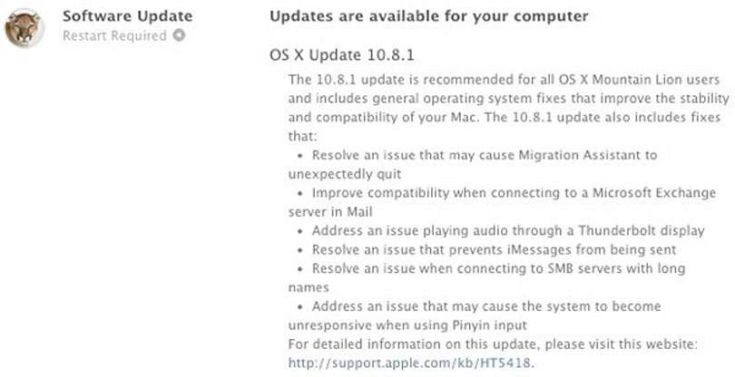 Apple posts OS X 10.8.1 update, mends your Mountain Lion