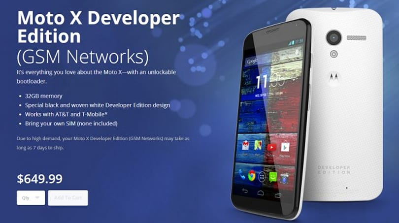 GSM Moto X dev edition brings unlocked bootloader on AT&T, T-Mobile for $650