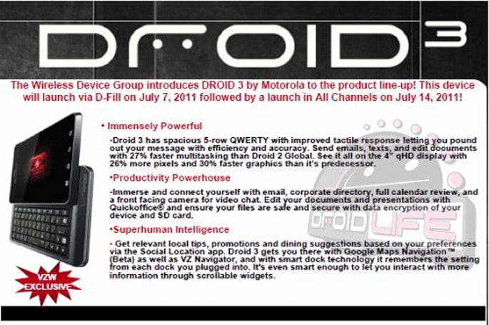Droid 3 leaks reveal manual, confirm July 7th and 14th release dates