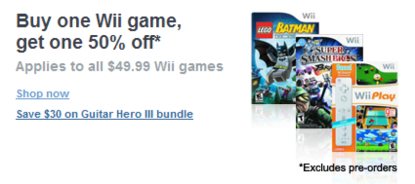 Circuit City does buy one, get one 50% off sale on Wii games