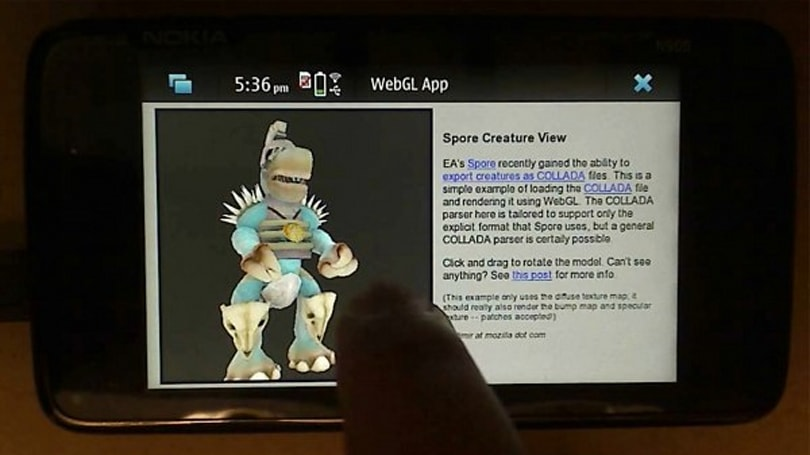 Nokia N900 impressively demos WebGL 3D graphics