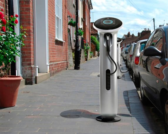 Yves Behar-designed GE WattStation electric vehicle charger spruces streets, juices cars