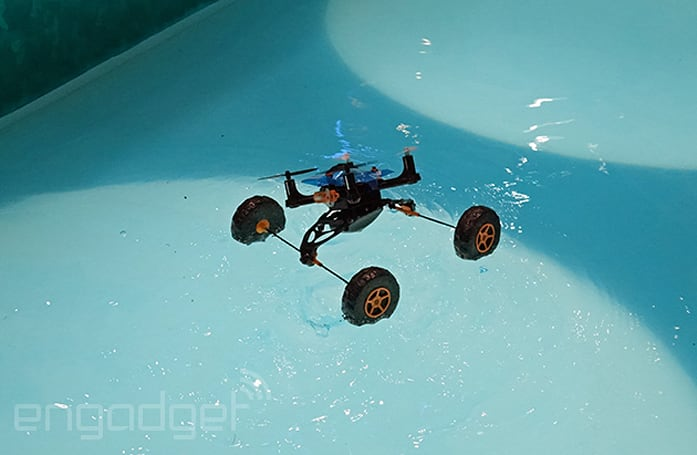 This remote-controlled car moves on land, sea and air