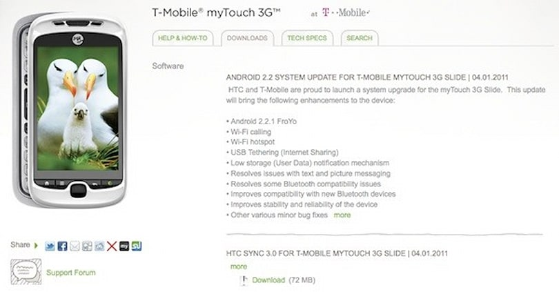 T-Mobile myTouch 3G Slide gets PC-assisted Froyo update