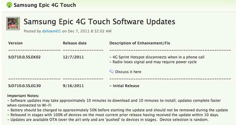 Sprint pushing firmware update to Epic 4G Touch, fixes hotspot connectivity and signal strength