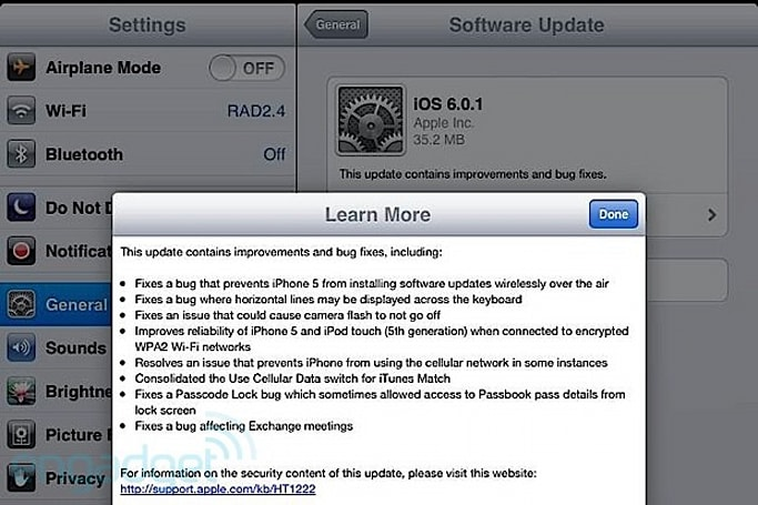 iOS 6.0.1 released, fixes iPhone 5 OTA software update issue and other bugs (update)
