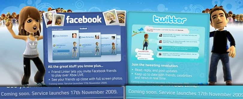 Facebook and Twitter arrive November 17 on Xbox Live in the UK