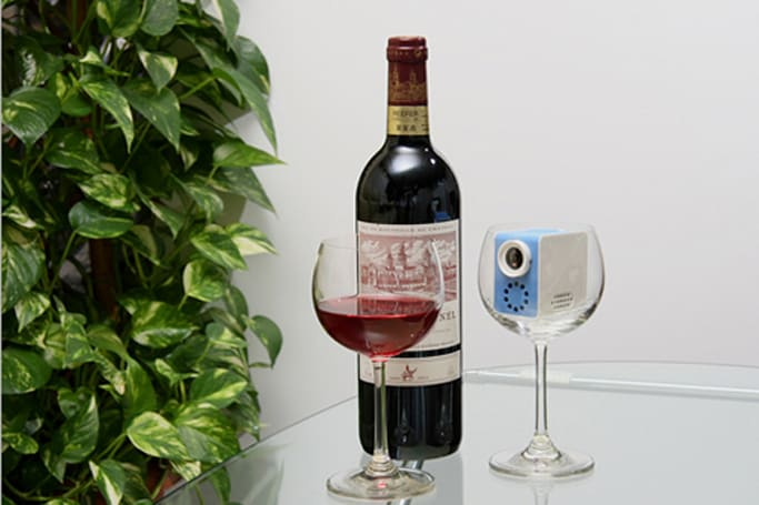 Castrade's CV-MP01 LCoS VGA projector fits in a wine glass