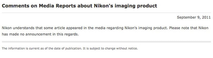 Nikon announces that it has announced nothing