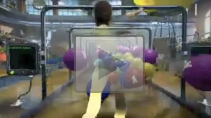 Watch as two women, two WP7 devices, and a Kinect pelt a man with rubber balls