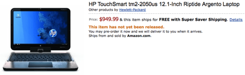 HP's $950 TouchSmart tm2 surfaces at Amazon with Core i3-330M