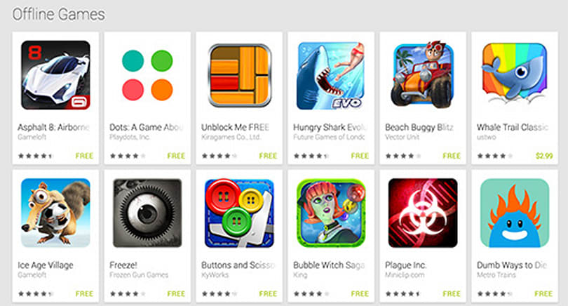 Google Play adds 'Offline Games' section