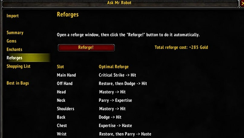 Addon Spotlight: Reforging and gear optimization addons