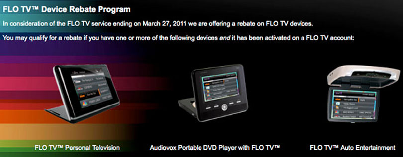 FLO TV rebates for devices and service are now live