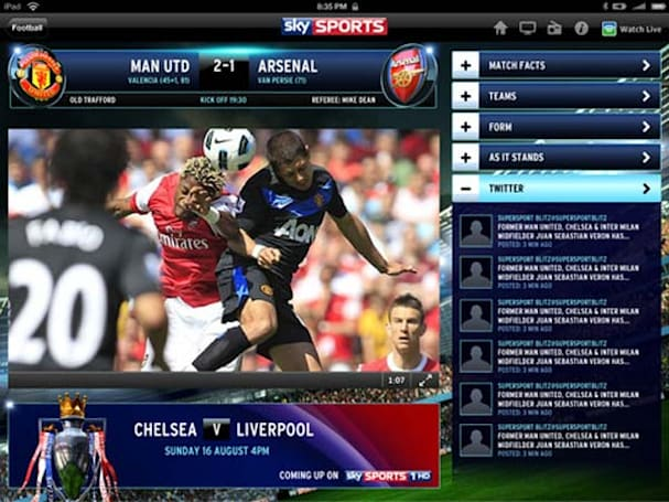 Football fans score additional content in Sky Sports for iPad update