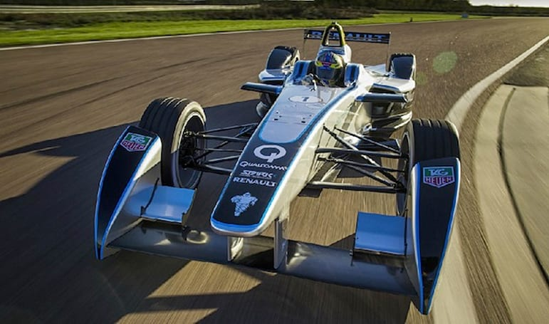 Formula E's electric-powered race car takes its first test laps (video)